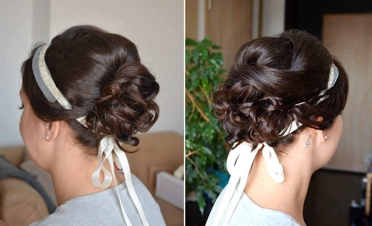 Wiązana opaska ślubna do włosów.